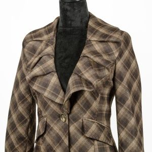 BCBGMaxAzria Ruffled Neckline Blazer Jacket S